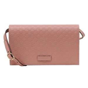 Gucci Soft Pink Leather Crossbody Wallet Bag